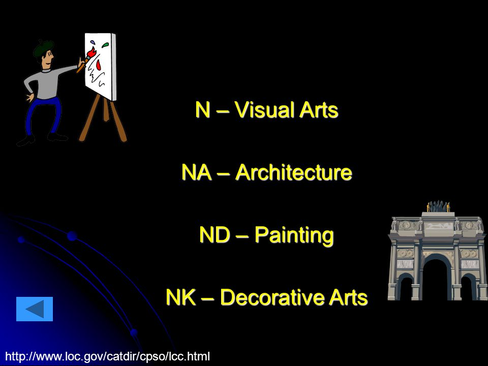 N – Visual Arts NA – Architecture ND – Painting NK – Decorative Arts http://www.loc.gov/catdir/cpso/lcc.html