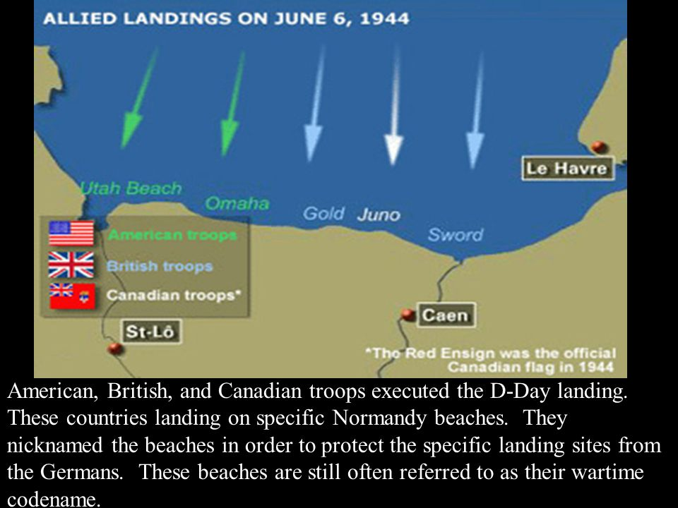 American, British, and Canadian troops executed the D-Day landing. These countries landing on specific Normandy beaches. They nicknamed the beaches in