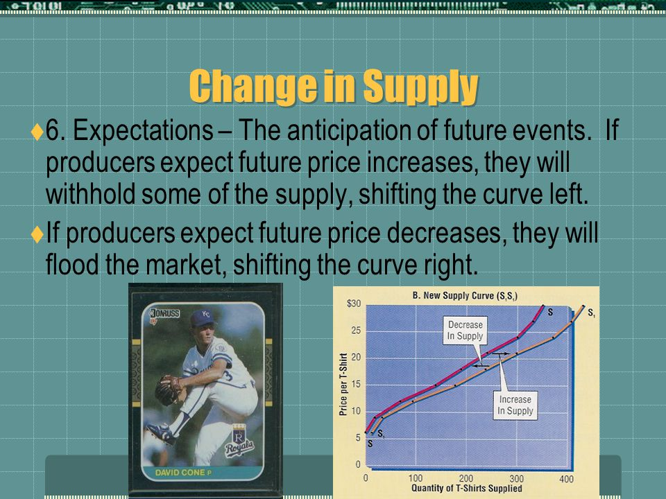 Change in Supply  5. Taxes and Subsidies – They have the same impact as cost of inputs.