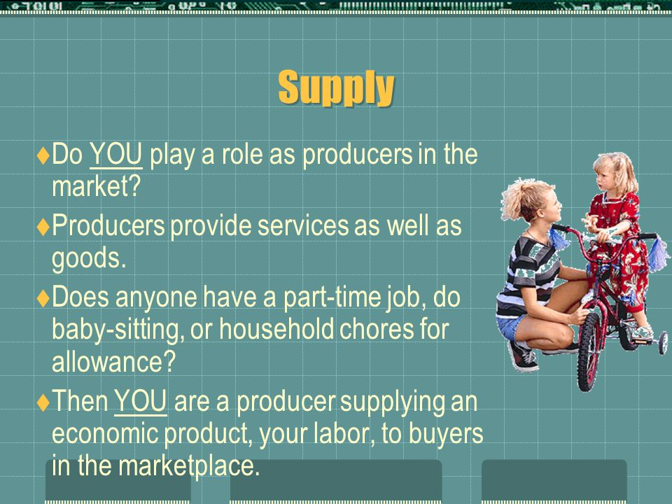 Supply  What is the nature of demand.  Supply is almost the mirror image of demand.