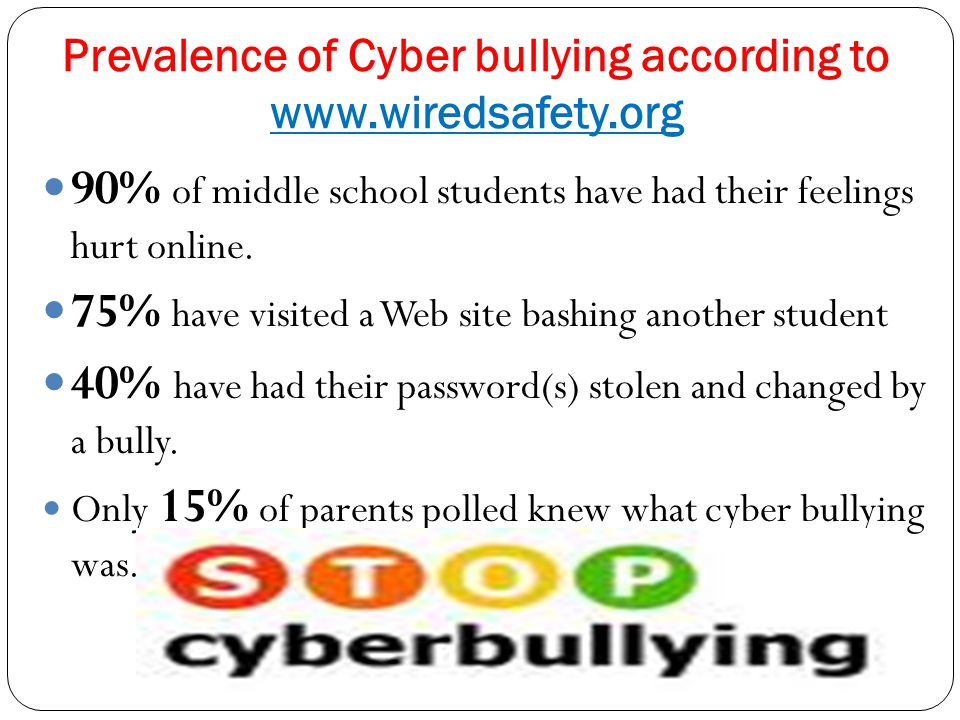 Prevalence of Cyber bullying according to www.wiredsafety.org 90% of middle school students have had their feelings hurt online. 75% have visited a We
