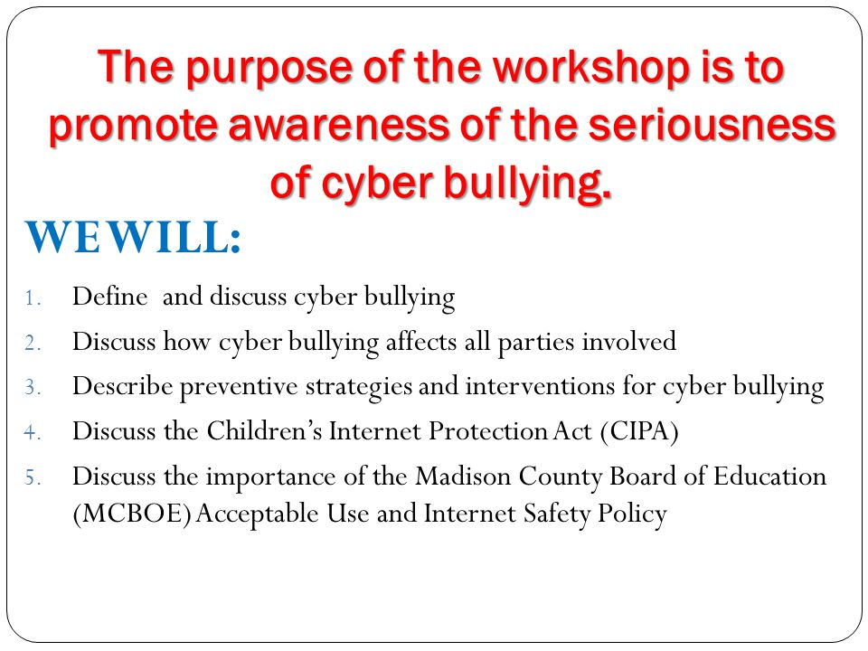 Prevalence of Cyber bullying according to www.wiredsafety.org 90% of middle school students have had their feelings hurt online.