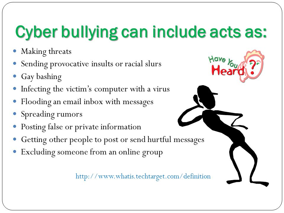 Cyber bullying can include acts as: Making threats Sending provocative insults or racial slurs Gay bashing Infecting the victim's computer with a viru