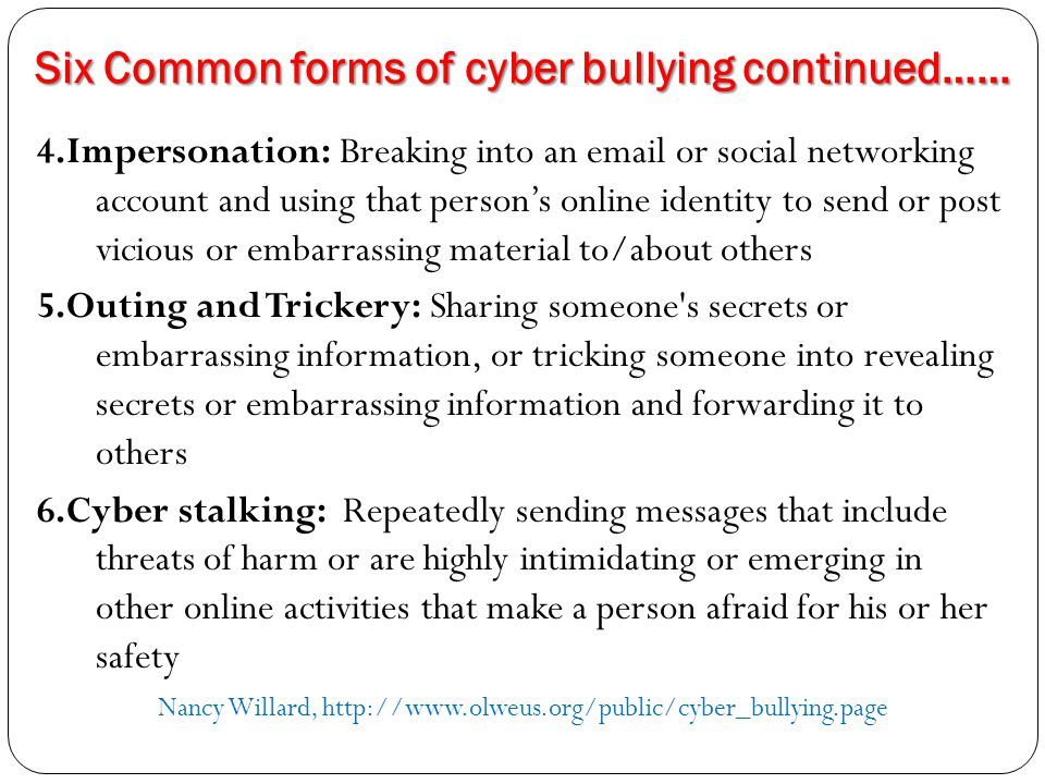 Warning signs of cyber bullying The warning signs of cyber bullying are similar to those for traditional bullying in terms of emotional effects.