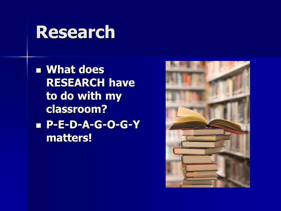 Research What does RESEARCH have to do with my classroom? What does RESEARCH have to do with my classroom? P-E-D-A-G-O-G-Y matters! P-E-D-A-G-O-G-Y ma