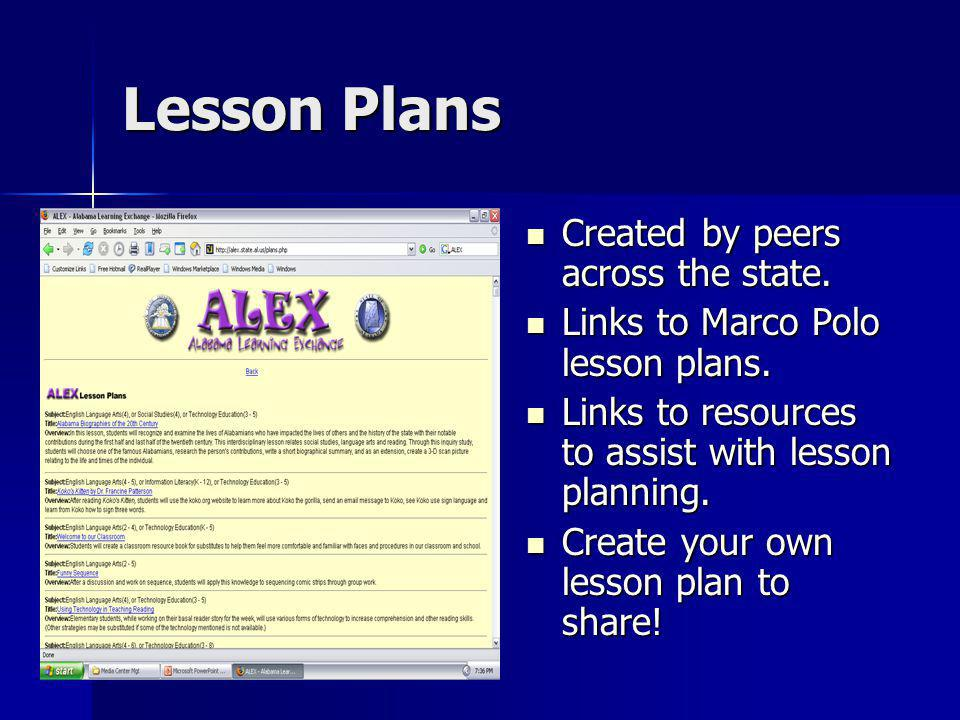 Lesson Plans Created by peers across the state. Created by peers across the state. Links to Marco Polo lesson plans. Links to Marco Polo lesson plans.