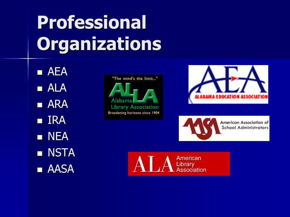 Professional Organizations AEA AEA ALA ALA ARA ARA IRA IRA NEA NEA NSTA NSTA AASA AASA