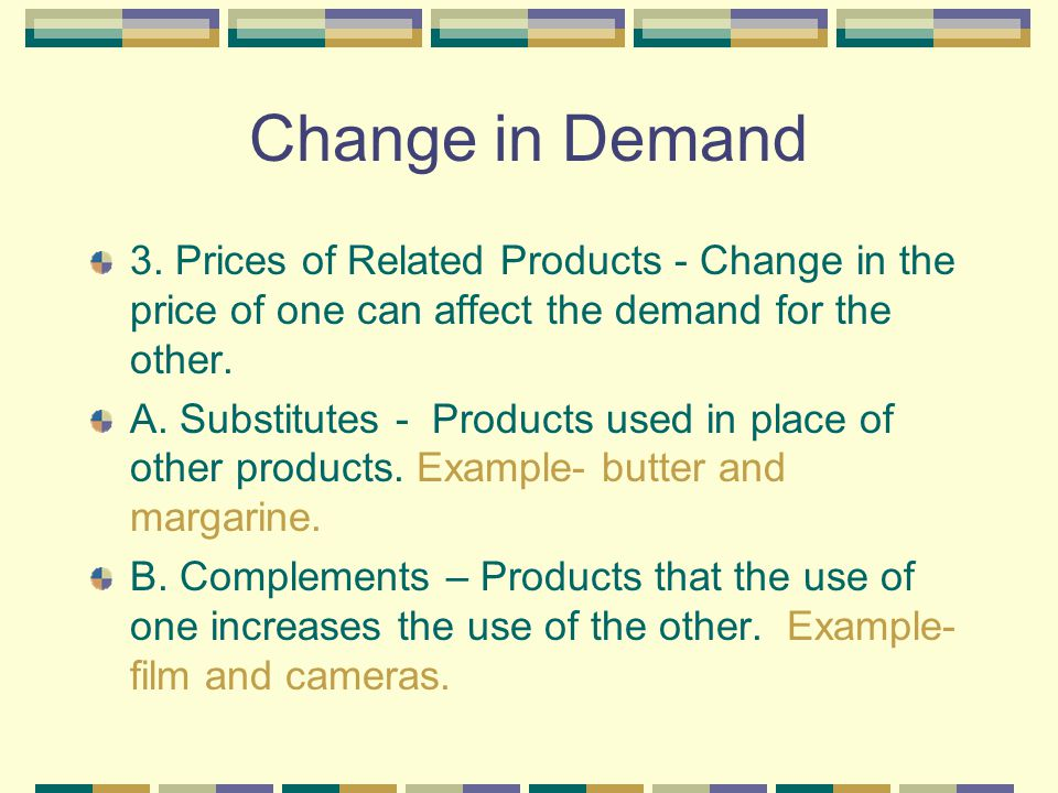 Change in Demand Reasons: 1. Consumer Income – As income rises, consumers are able to buy more at each and every price. If income declines, consumers