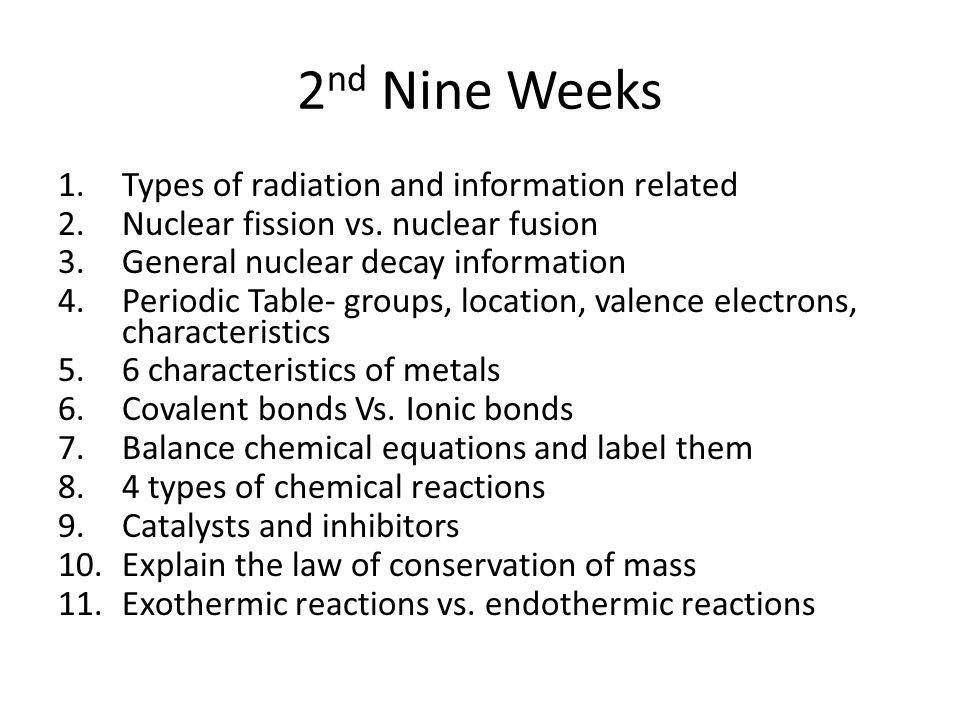2 nd Nine Weeks 1.Types of radiation and information related 2.Nuclear fission vs.