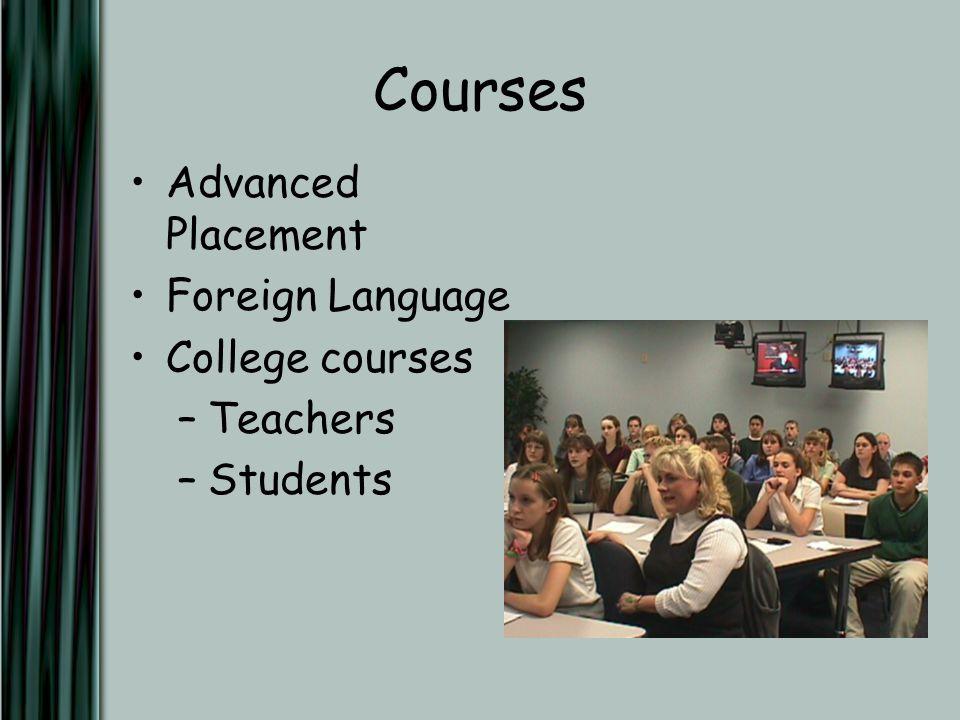 Courses Advanced Placement Foreign Language College courses –Teachers –Students