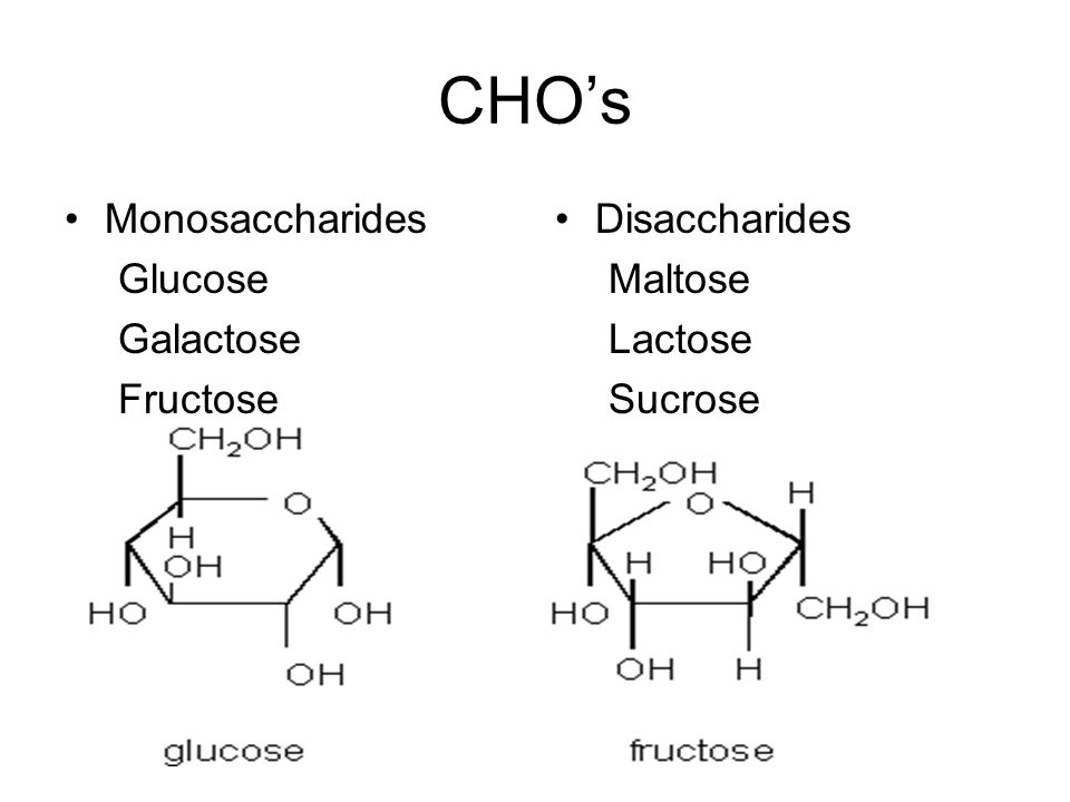 CHO's Monosaccharides Glucose Galactose Fructose Disaccharides Maltose Lactose Sucrose