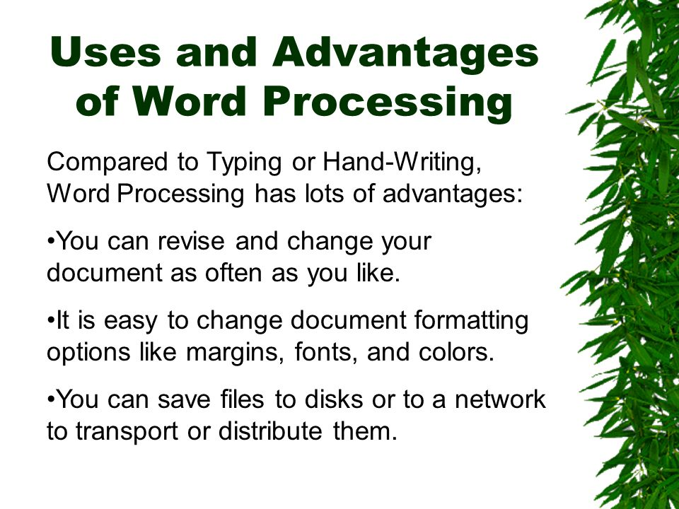 Word Processor Operations Your word processor has a list of menus and buttons at the top of its document window.