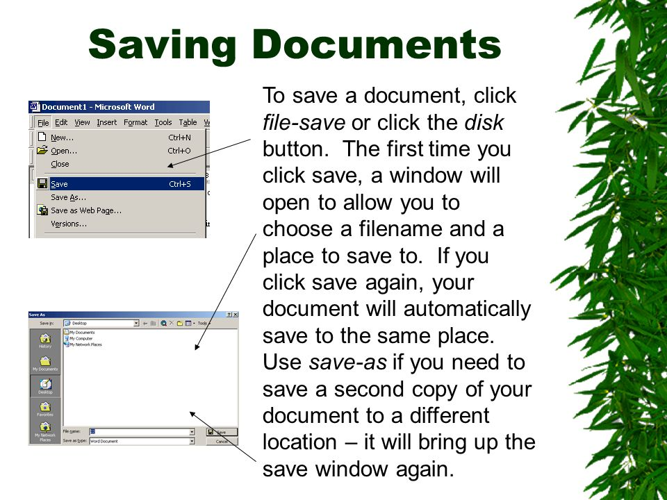 Printing Documents To print your document, choose file-print or use the printer button.