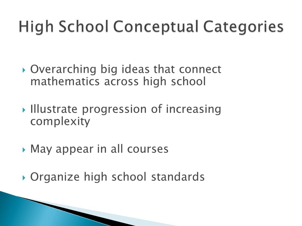  Overarching big ideas that connect mathematics across high school  Illustrate progression of increasing complexity  May appear in all courses  Or
