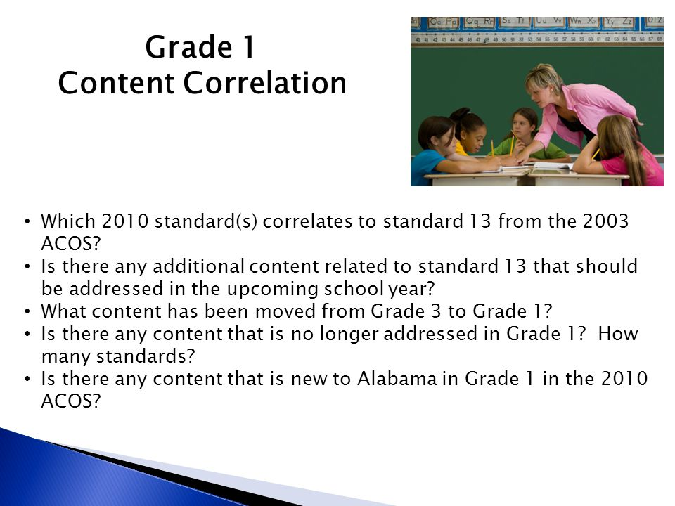 Grade 1 Content Correlation Which 2010 standard(s) correlates to standard 13 from the 2003 ACOS? Is there any additional content related to standard 1