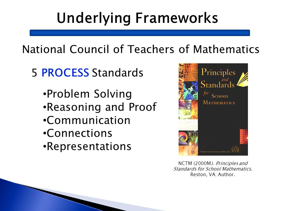 Underlying Frameworks National Council of Teachers of Mathematics NCTM (2000M). Principles and Standards for School Mathematics. Reston, VA: Author. 5
