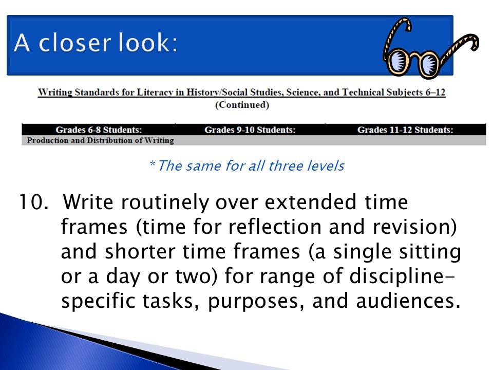 A closer look: *The same for all three levels 10. Write routinely over extended time frames (time for reflection and revision) and shorter time frames