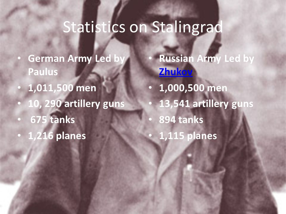 Statistics on Stalingrad German Army Led by Paulus 1,011,500 men 10, 290 artillery guns 675 tanks 1,216 planes Russian Army Led by Zhukov Zhukov 1,000