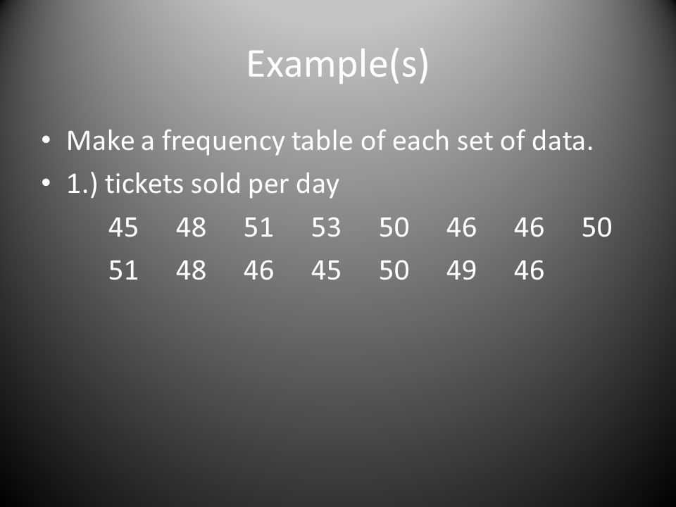 Example(s) Make a frequency table of each set of data. 1.) tickets sold per day 4548515350464650 51484645504946