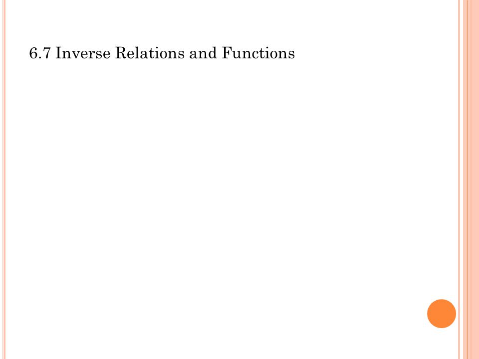 6.7 Inverse Relations and Functions