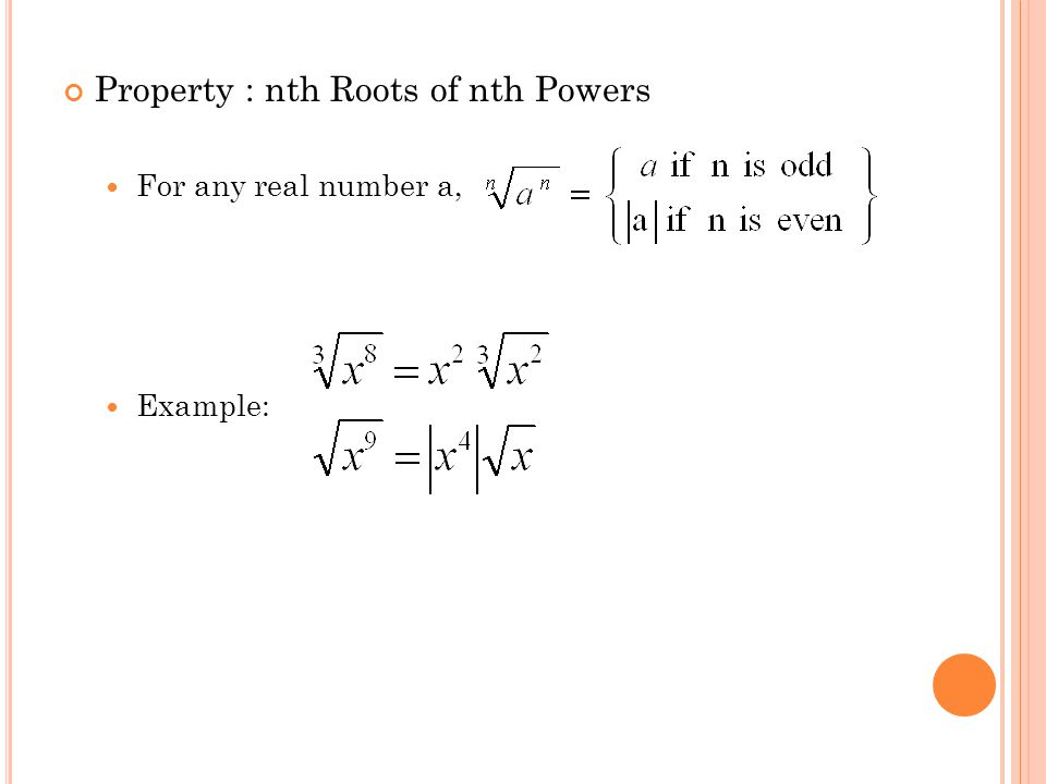 Property : nth Roots of nth Powers For any real number a, Example: