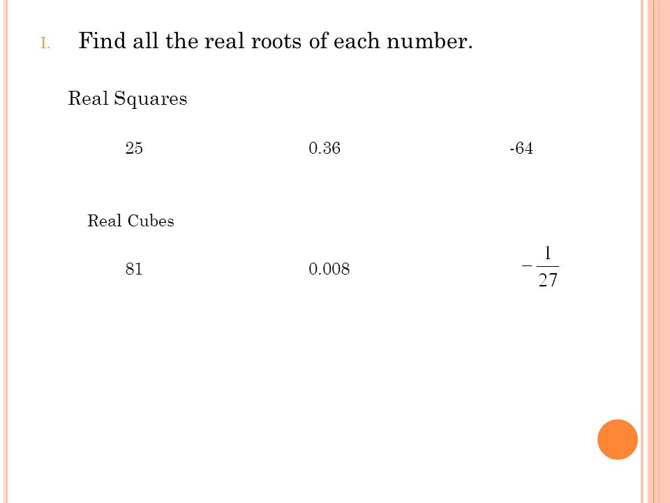 I. Find all the real roots of each number. Real Squares 250.36-64 Real Cubes 810.008
