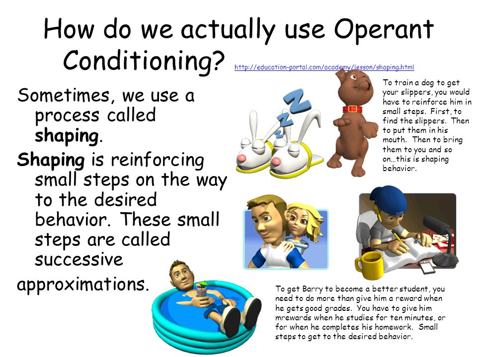 How do we actually use Operant Conditioning? http://education-portal.com/academy/lesson/shaping.html http://education-portal.com/academy/lesson/shapin