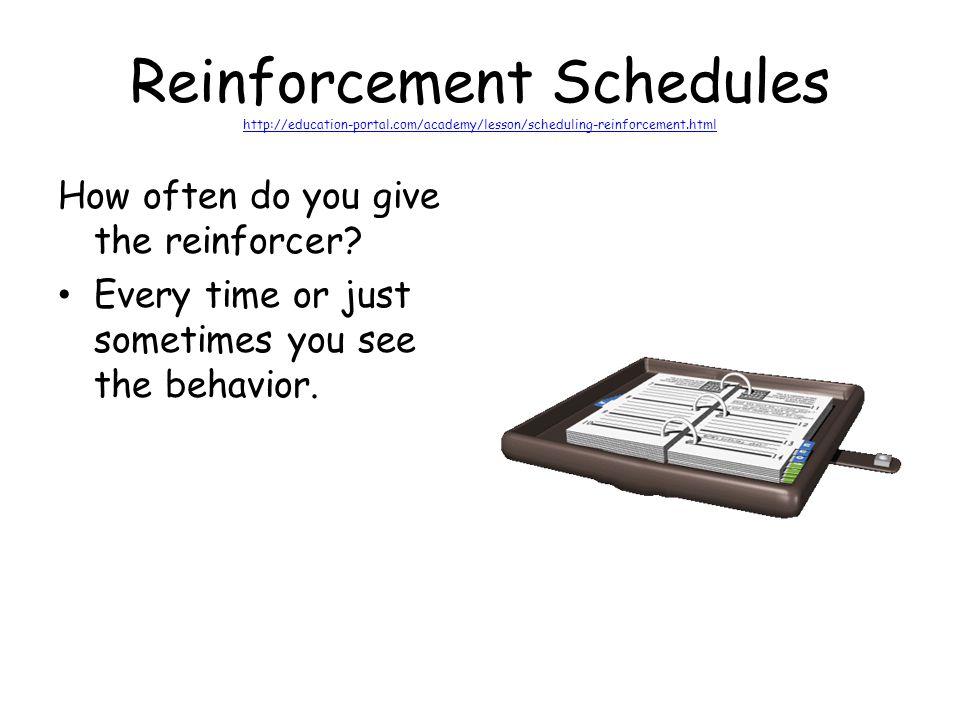 Reinforcement Schedules http://education-portal.com/academy/lesson/scheduling-reinforcement.html http://education-portal.com/academy/lesson/scheduling