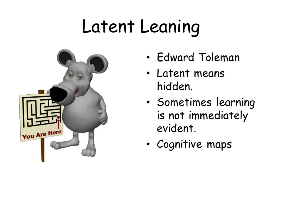 Latent Leaning Edward Toleman Latent means hidden. Sometimes learning is not immediately evident. Cognitive maps
