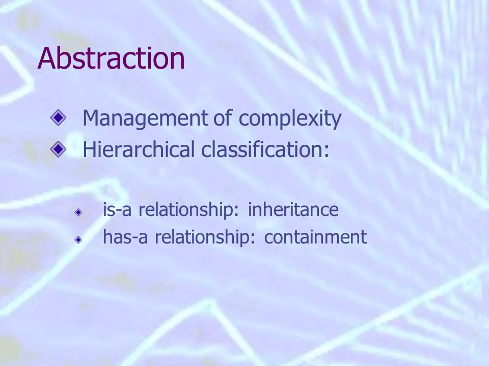 Abstraction Management of complexity Hierarchical classification: is-a relationship: inheritance has-a relationship: containment
