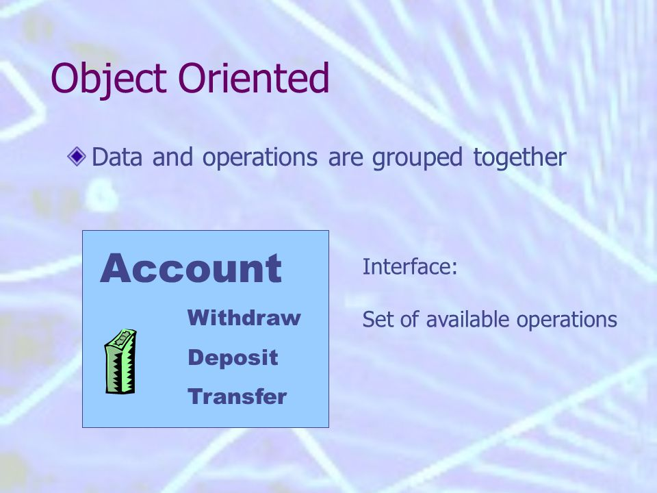 Object Oriented Data and operations are grouped together Account Withdraw Deposit Transfer Interface: Set of available operations