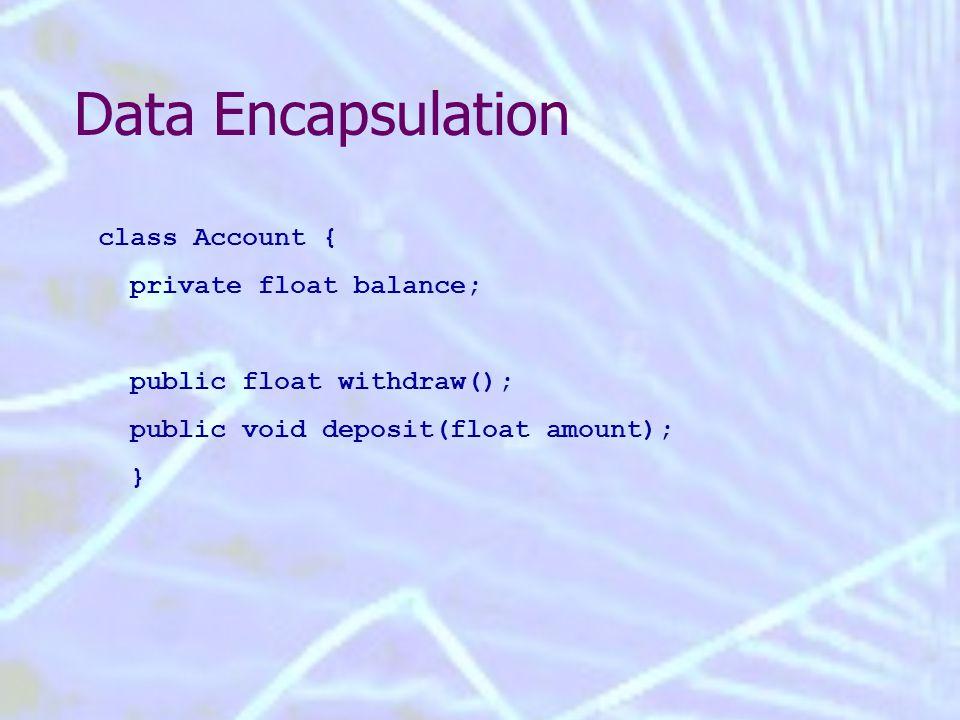 Data Encapsulation class Account { private float balance; public float withdraw(); public void deposit(float amount); }