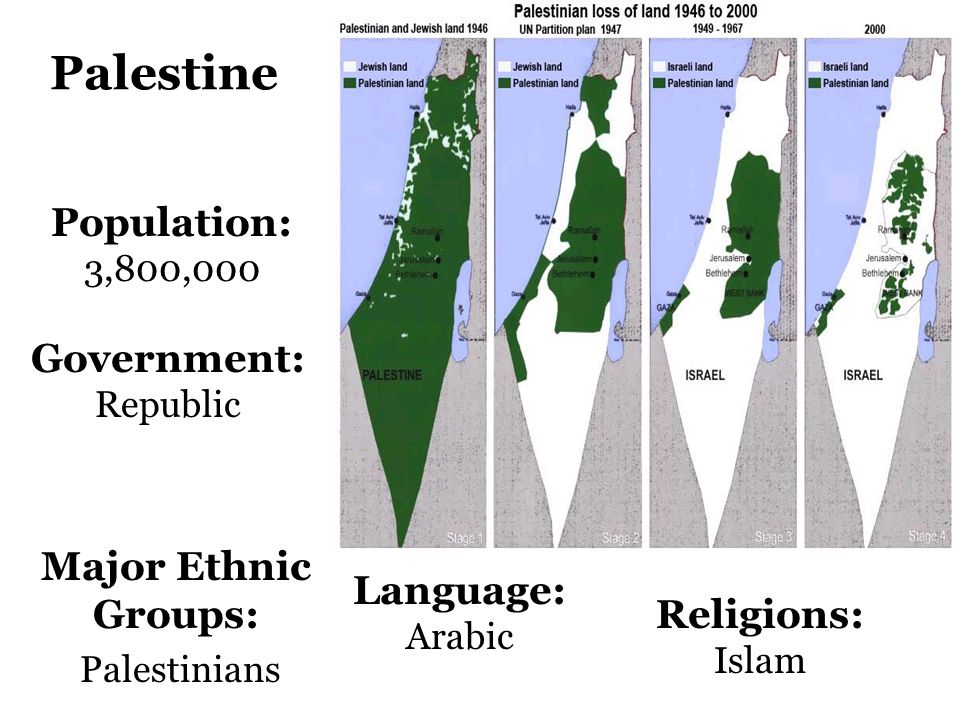 Palestine Population: 3,800,000 Government: Republic Language: Arabic Religions: Islam Major Ethnic Groups: Palestinians