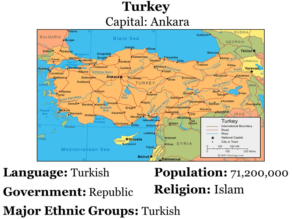 Turkey Capital: Ankara Population: 71,200,000 Government: Republic Language: Turkish Religion: Islam Major Ethnic Groups: Turkish