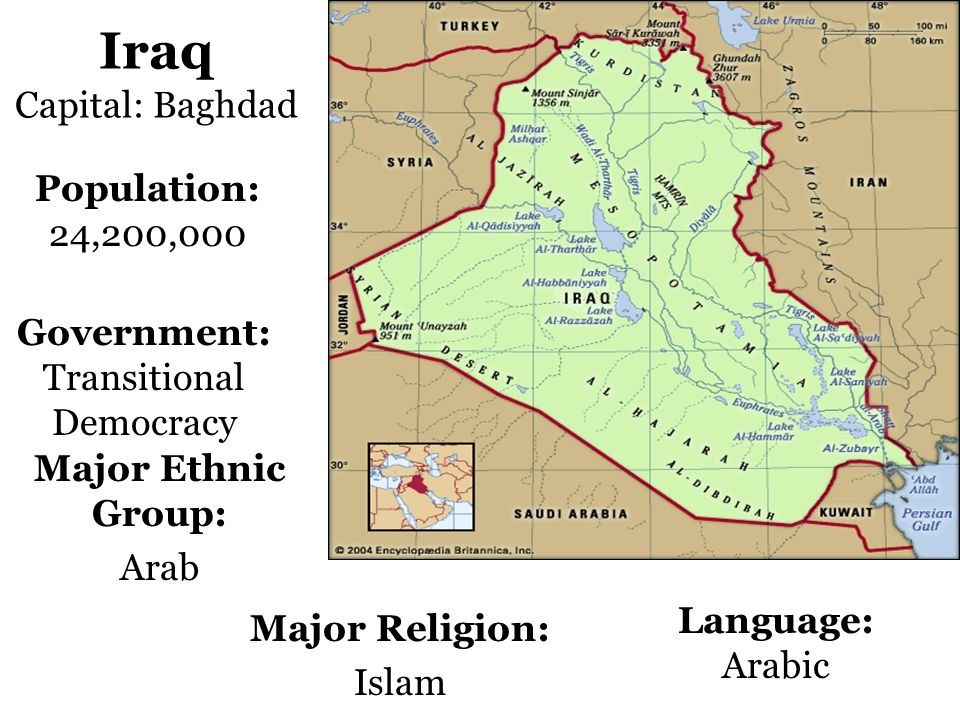 Iraq Capital: Baghdad Population: 24,200,000 Government: Transitional Democracy Language: Arabic Major Religion: Islam Major Ethnic Group: Arab