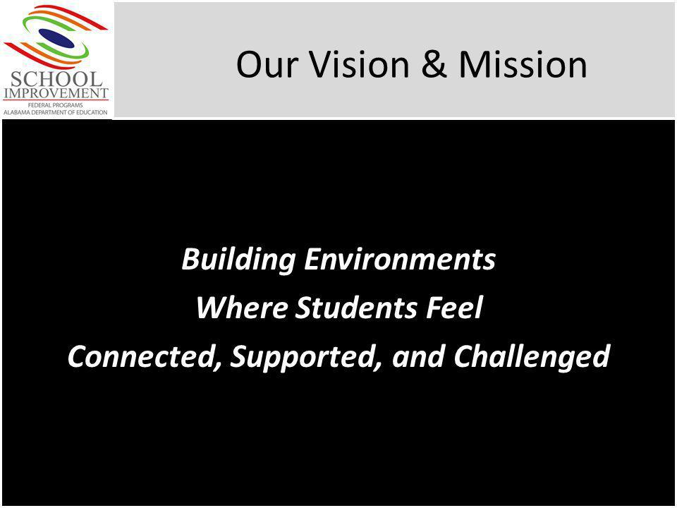 Our Vision & Mission Building Environments Where Students Feel Connected, Supported, and Challenged