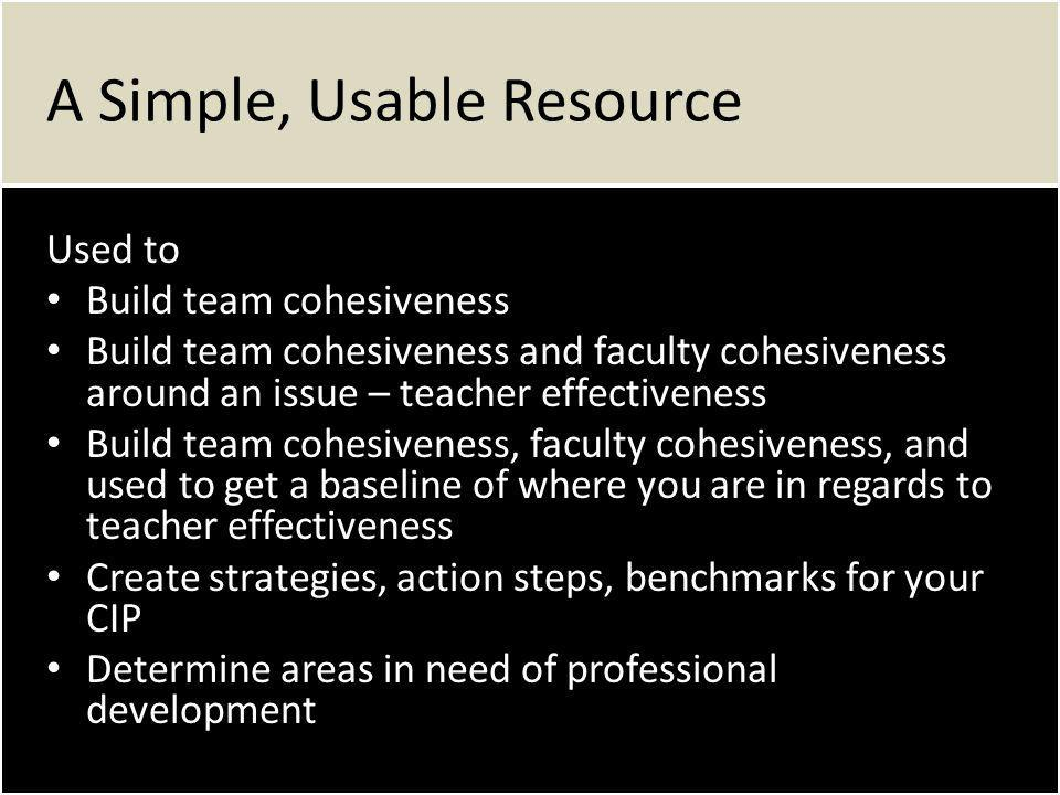A Simple, Usable Resource Used to Build team cohesiveness Build team cohesiveness Build team cohesiveness and faculty cohesiveness around an issue – teacher effectiveness Build team cohesiveness and faculty cohesiveness around an issue – teacher effectiveness Build team cohesiveness, faculty cohesiveness, and used to get a baseline of where you are in regards to teacher effectiveness Build team cohesiveness, faculty cohesiveness, and used to get a baseline of where you are in regards to teacher effectiveness Create strategies, action steps, benchmarks for your CIP Create strategies, action steps, benchmarks for your CIP Determine areas in need of professional development Determine areas in need of professional development