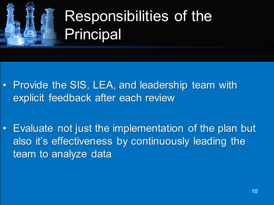 Responsibilities of the Principal Provide the SIS, LEA, and leadership team with explicit feedback after each reviewProvide the SIS, LEA, and leadersh