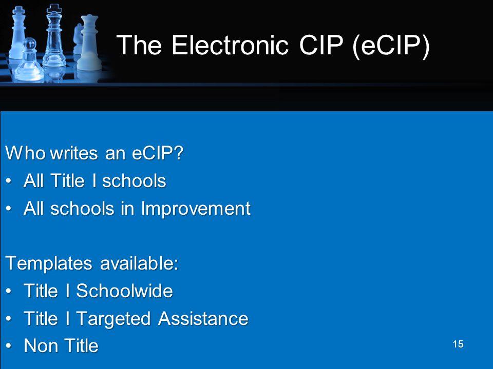 The Electronic CIP (eCIP) Who writes an eCIP? All Title I schoolsAll Title I schools All schools in ImprovementAll schools in Improvement Templates av