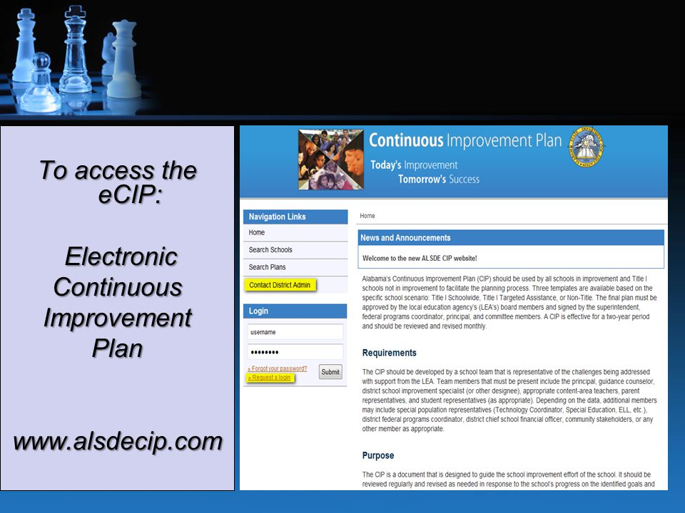 To access the eCIP: Electronic ElectronicContinuousImprovementPlanwww.alsdecip.com 16