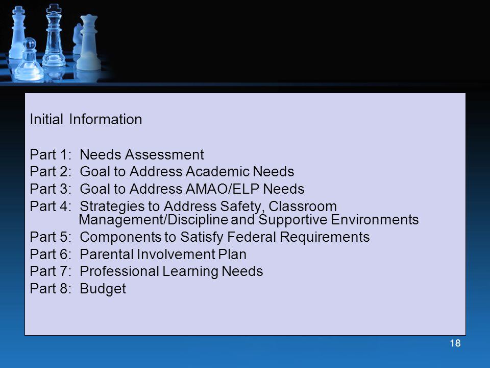 Initial Information Part 1: Needs Assessment Part 2: Goal to Address Academic Needs Part 3: Goal to Address AMAO/ELP Needs Part 4: Strategies to Addre