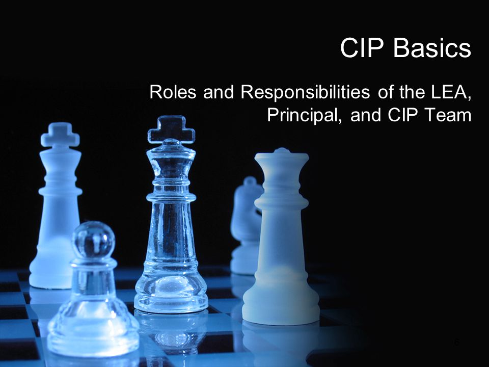 CIP Basics Roles and Responsibilities of the LEA, Principal, and CIP Team 6