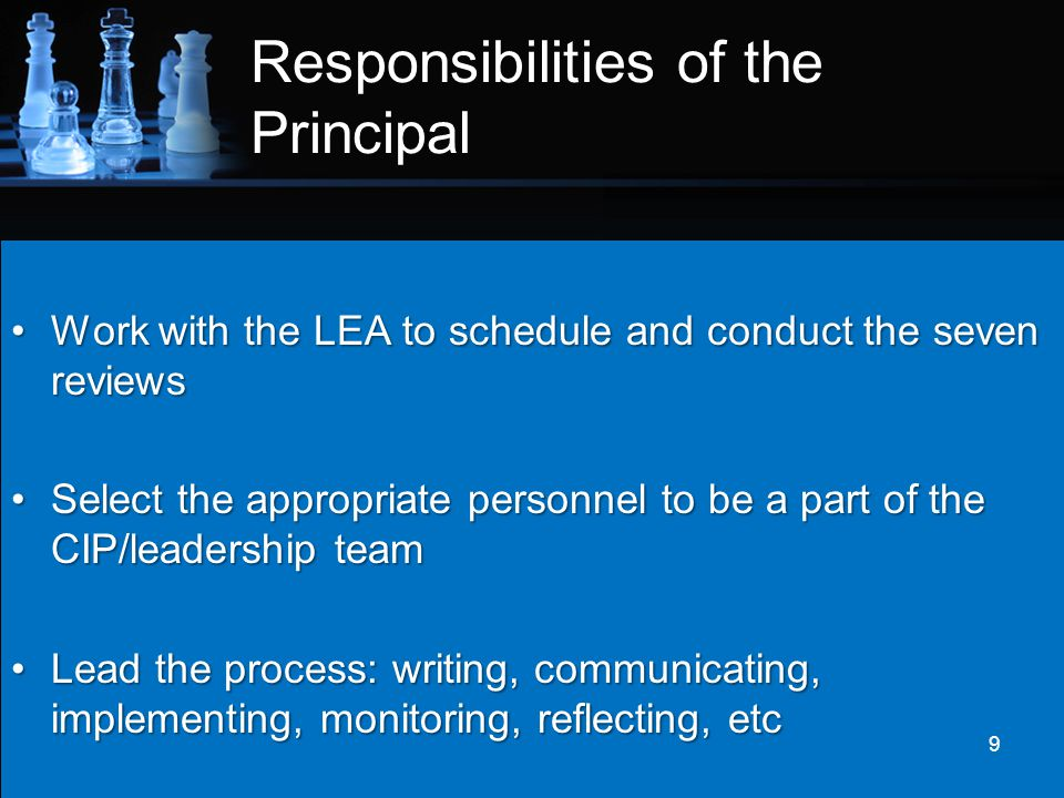Responsibilities of the Principal Provide the SIS, LEA, and leadership team with explicit feedback after each reviewProvide the SIS, LEA, and leadership team with explicit feedback after each review Evaluate not just the implementation of the plan but also it's effectiveness by continuously leading the team to analyze dataEvaluate not just the implementation of the plan but also it's effectiveness by continuously leading the team to analyze data 10