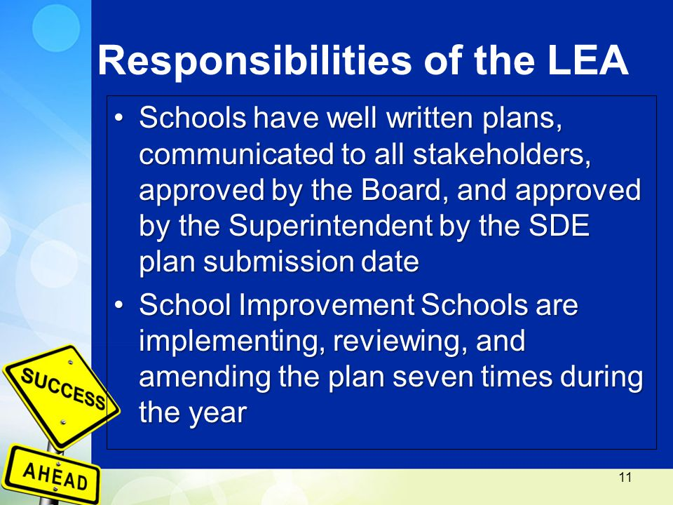 Responsibilities of the LEA Schools have well written plans, communicated to all stakeholders, approved by the Board, and approved by the Superintendent by the SDE plan submission dateSchools have well written plans, communicated to all stakeholders, approved by the Board, and approved by the Superintendent by the SDE plan submission date School Improvement Schools are implementing, reviewing, and amending the plan seven times during the yearSchool Improvement Schools are implementing, reviewing, and amending the plan seven times during the year 11