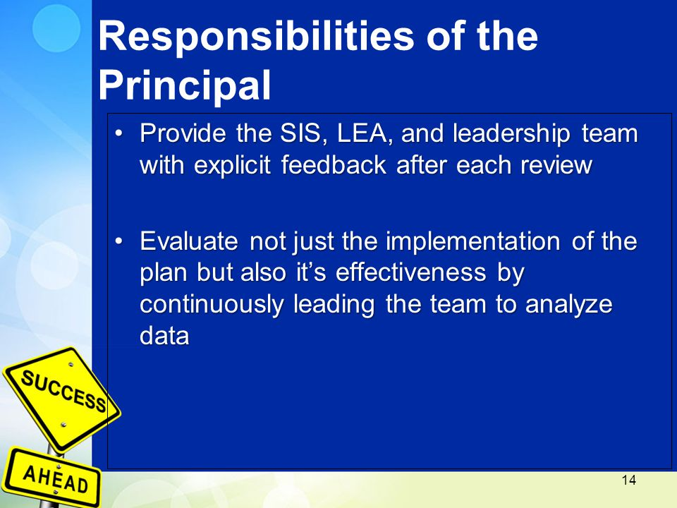 Responsibilities of the Principal Provide the SIS, LEA, and leadership team with explicit feedback after each reviewProvide the SIS, LEA, and leadership team with explicit feedback after each review Evaluate not just the implementation of the plan but also it's effectiveness by continuously leading the team to analyze dataEvaluate not just the implementation of the plan but also it's effectiveness by continuously leading the team to analyze data 14