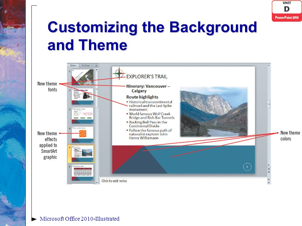 Customizing the Background and Theme Microsoft Office 2010-Illustrated