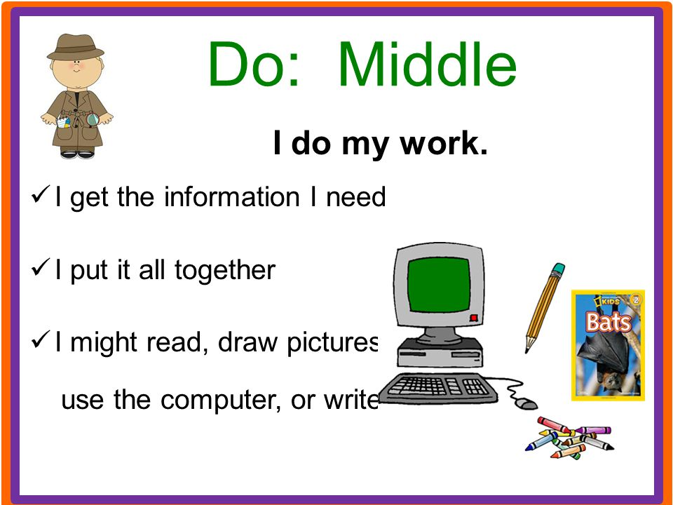 Do: Middle I do my work. I get the information I need I put it all together I might read, draw pictures, use the computer, or write.