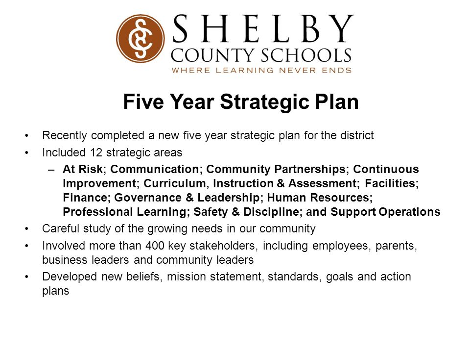 Recently completed a new five year strategic plan for the district Included 12 strategic areas –At Risk; Communication; Community Partnerships; Contin