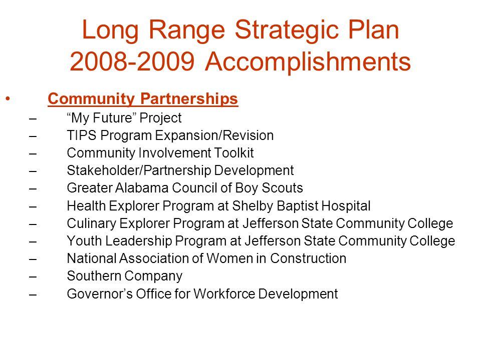 "Long Range Strategic Plan 2008-2009 Accomplishments Community Partnerships –""My Future"" Project –TIPS Program Expansion/Revision –Community Involvemen"