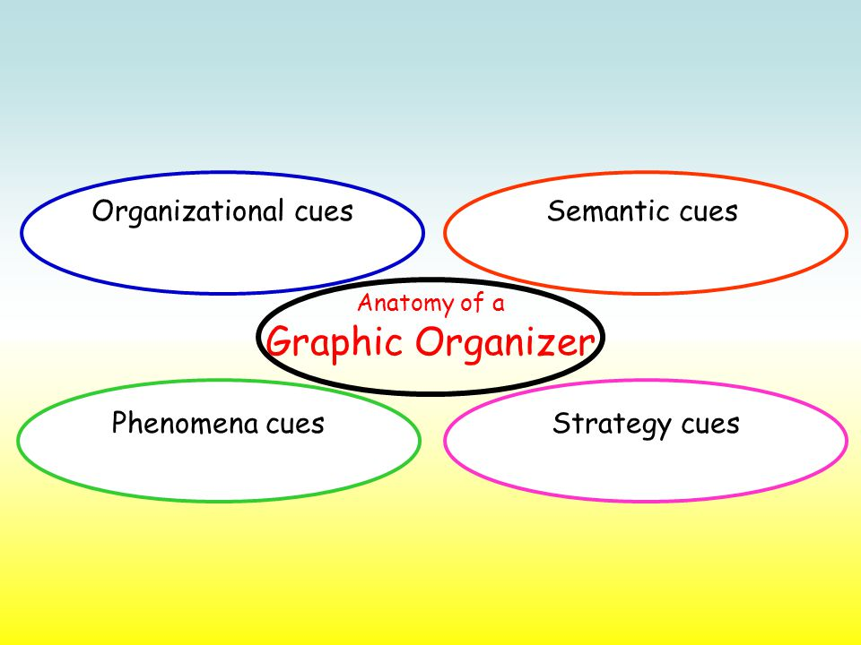 Phenomena cuesStrategy cues Semantic cues Organizational cues Anatomy of a Graphic Organizer
